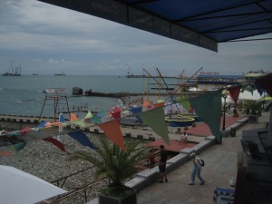 The view from Cafe Del Mar, on Sochi's beach front strip.