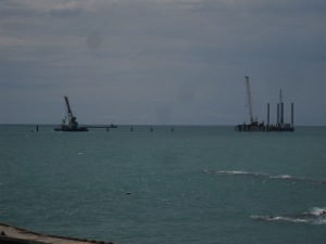 Pile driving work on the 'new' Sochi beachline